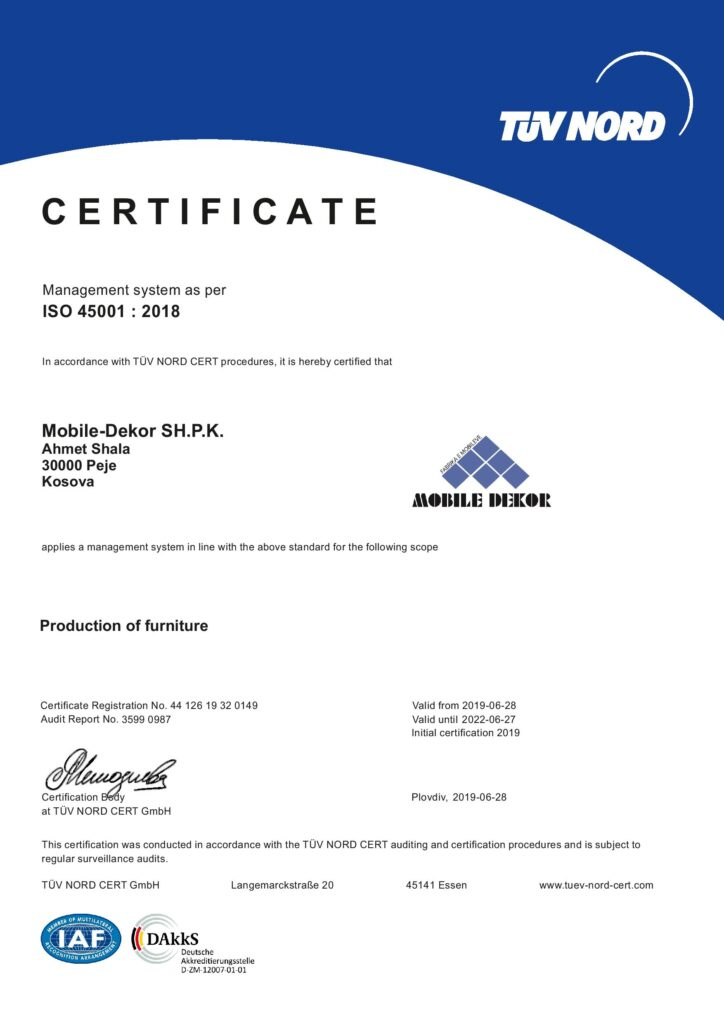 Certificate - ISO 45001:2018
